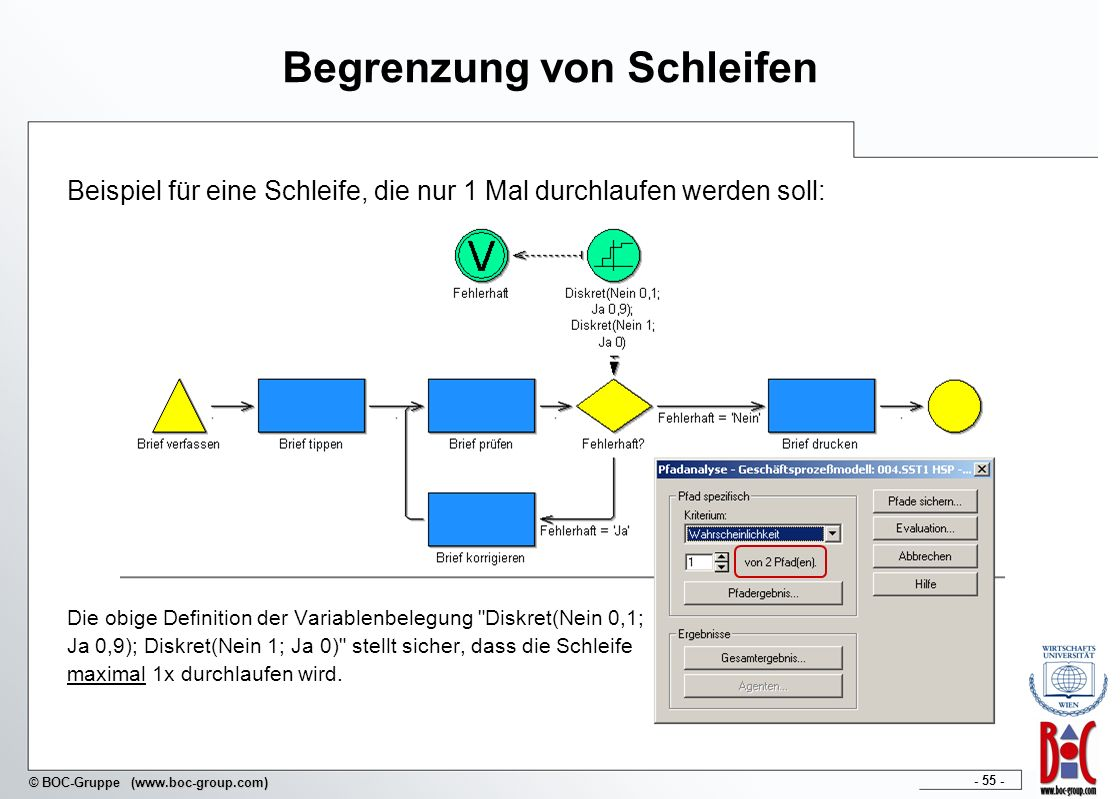 - 55 - © BOC-Gruppe (www.boc-group.com) Begrenzung von Schleifen Beispiel für eine Schleife, die nur 1 Mal durchlaufen werden soll: Die obige Definiti
