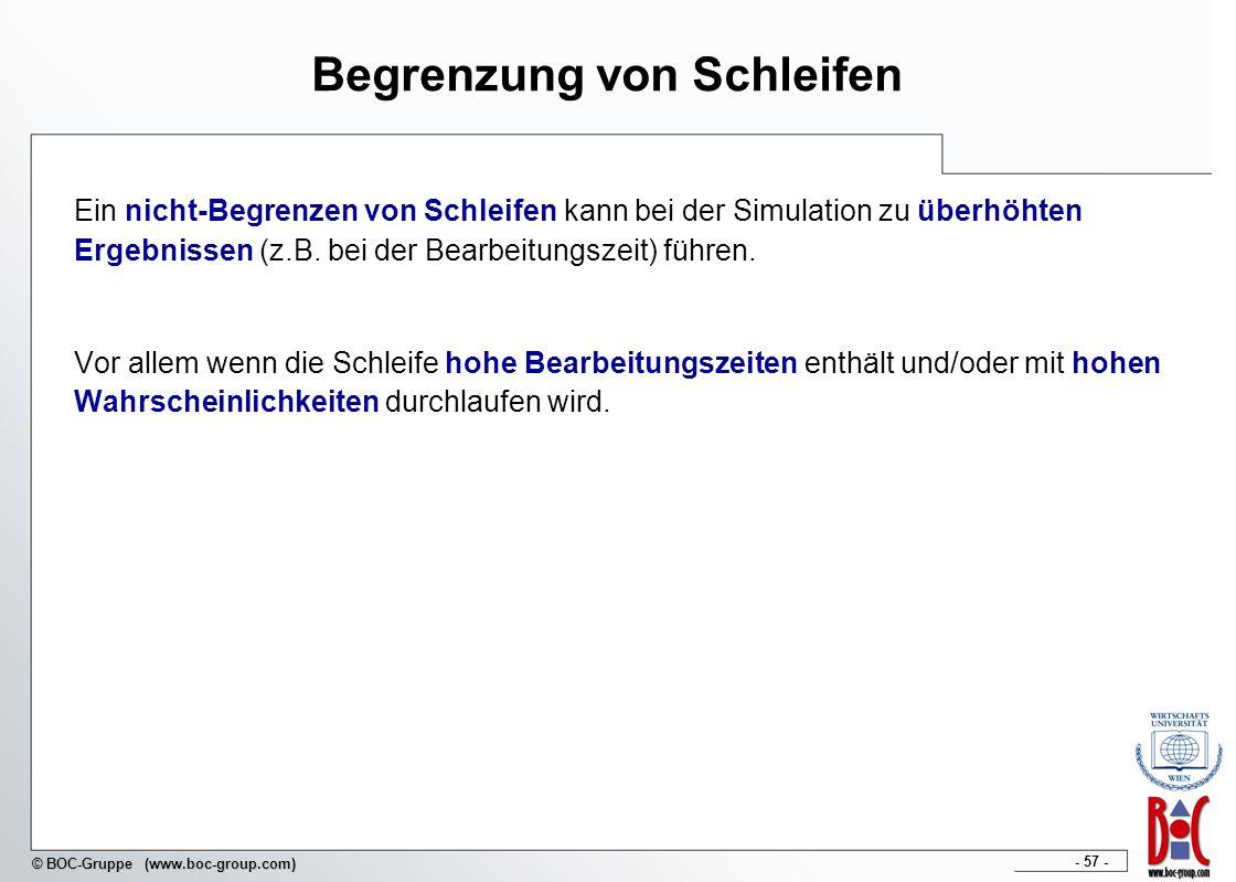 - 57 - © BOC-Gruppe (www.boc-group.com) Begrenzung von Schleifen Ein nicht-Begrenzen von Schleifen kann bei der Simulation zu überhöhten Ergebnissen (