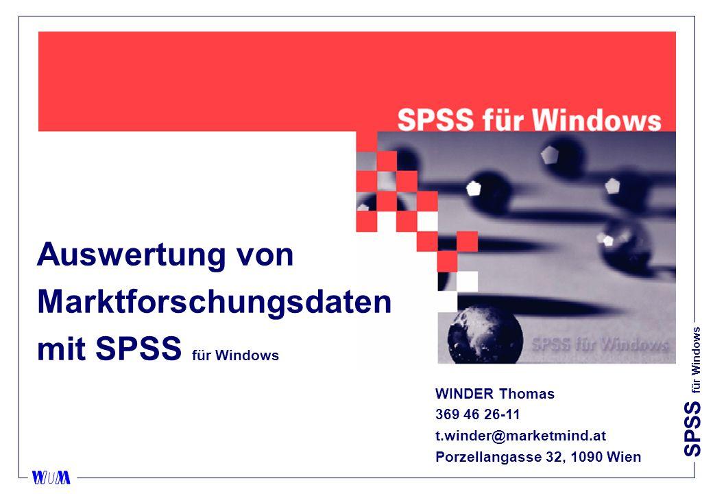 SPSS für Windows Datenbereinigung nFälle auswählen (select cases) II uFälle, welche die Auswahlkriterien nicht erfüllen, können Sie filtern oder löschen.