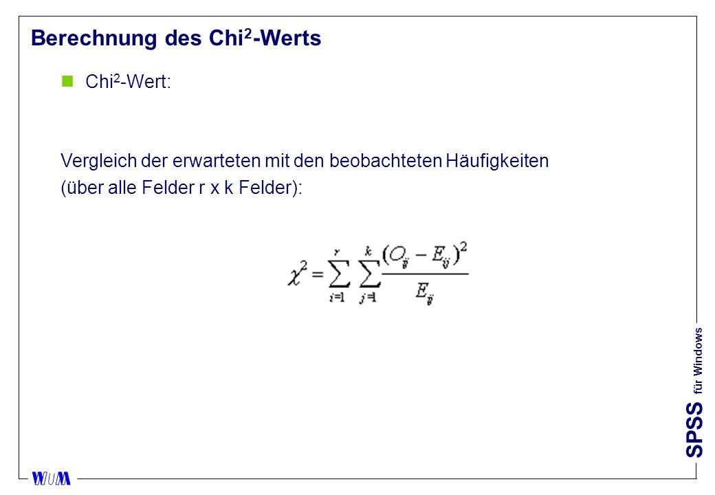 SPSS für Windows Berechnung des Chi 2 -Werts nChi 2 -Wert: Vergleich der erwarteten mit den beobachteten Häufigkeiten (über alle Felder r x k Felder):