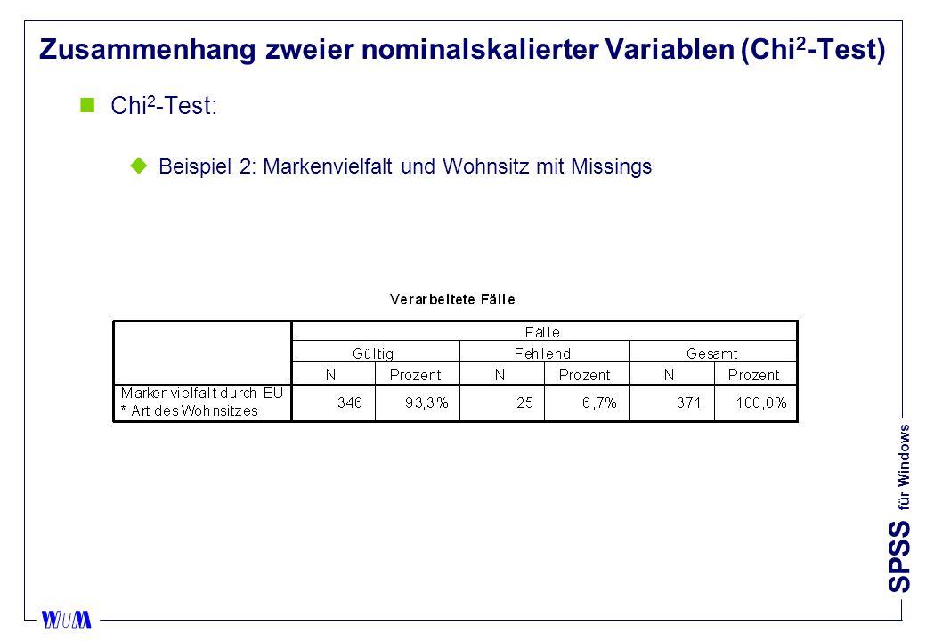 SPSS für Windows Zusammenhang zweier nominalskalierter Variablen (Chi 2 -Test) nChi 2 -Test: uBeispiel 2: Markenvielfalt und Wohnsitz mit Missings