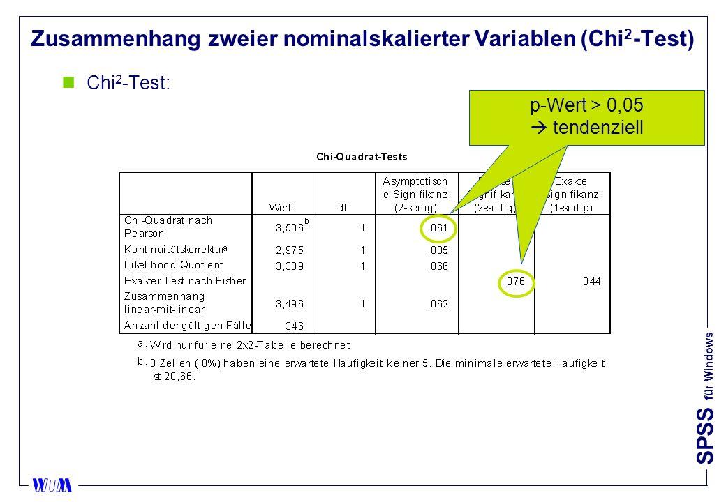 SPSS für Windows Zusammenhang zweier nominalskalierter Variablen (Chi 2 -Test) nChi 2 -Test: p-Wert > 0,05 tendenziell signifikant p-Wert > 0,05 tendenziell