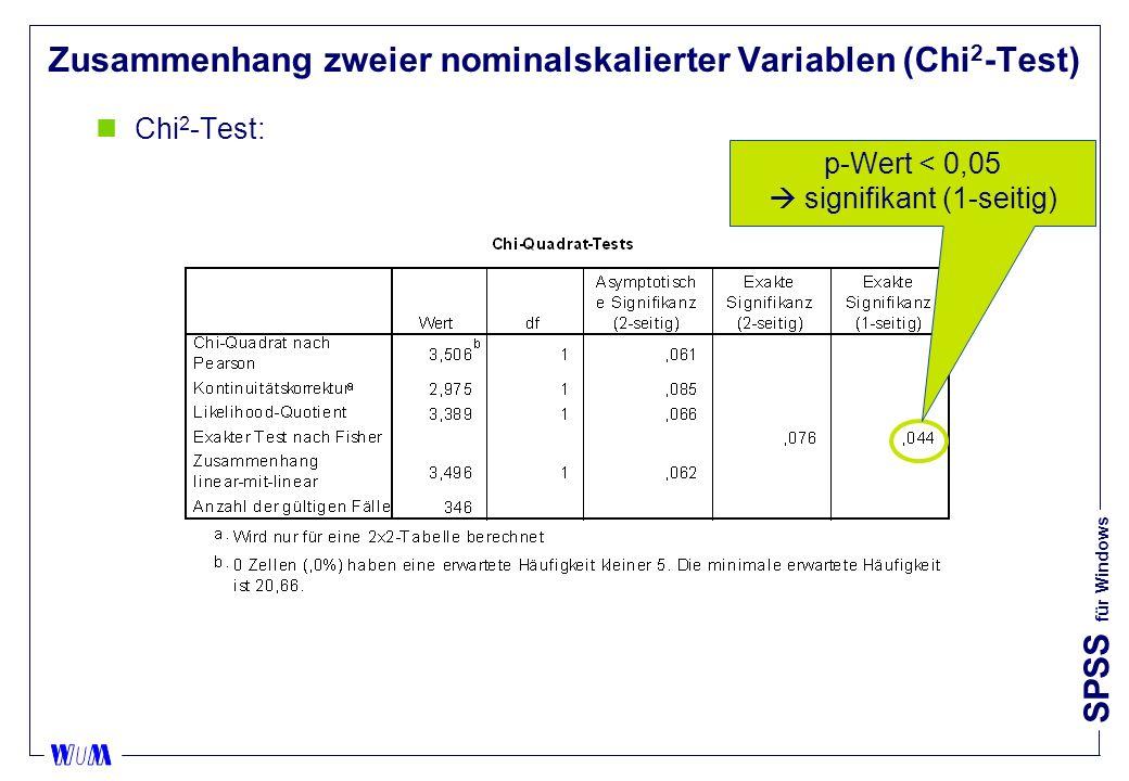 SPSS für Windows Zusammenhang zweier nominalskalierter Variablen (Chi 2 -Test) nChi 2 -Test: p-Wert < 0,05 signifikant (1-seitig)