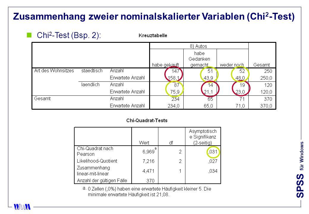 SPSS für Windows Zusammenhang zweier nominalskalierter Variablen (Chi 2 -Test) nChi 2 -Test (Bsp.