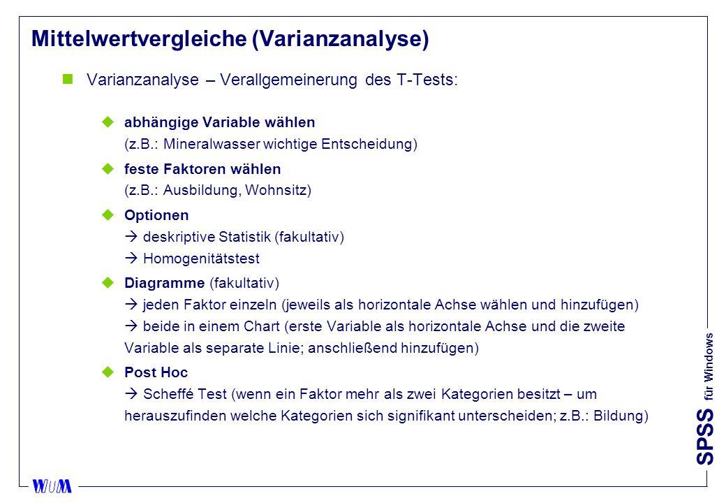 SPSS für Windows Mittelwertvergleiche (Varianzanalyse) nVarianzanalyse – Verallgemeinerung des T-Tests: uabhängige Variable wählen (z.B.: Mineralwasser wichtige Entscheidung) ufeste Faktoren wählen (z.B.: Ausbildung, Wohnsitz) uOptionen deskriptive Statistik (fakultativ) Homogenitätstest uDiagramme (fakultativ) jeden Faktor einzeln (jeweils als horizontale Achse wählen und hinzufügen) beide in einem Chart (erste Variable als horizontale Achse und die zweite Variable als separate Linie; anschließend hinzufügen) uPost Hoc Scheffé Test (wenn ein Faktor mehr als zwei Kategorien besitzt – um herauszufinden welche Kategorien sich signifikant unterscheiden; z.B.: Bildung)