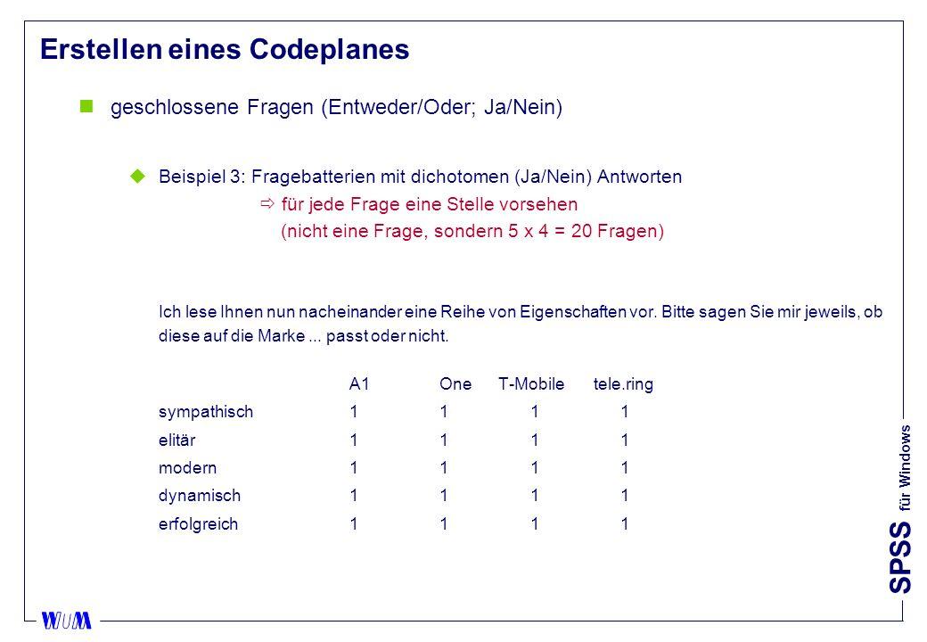 SPSS für Windows Erstellen eines Codeplanes ngeschlossene Fragen (Entweder/Oder; Ja/Nein) uBeispiel 3: Fragebatterien mit dichotomen (Ja/Nein) Antworten für jede Frage eine Stelle vorsehen (nicht eine Frage, sondern 5 x 4 = 20 Fragen) Ich lese Ihnen nun nacheinander eine Reihe von Eigenschaften vor.
