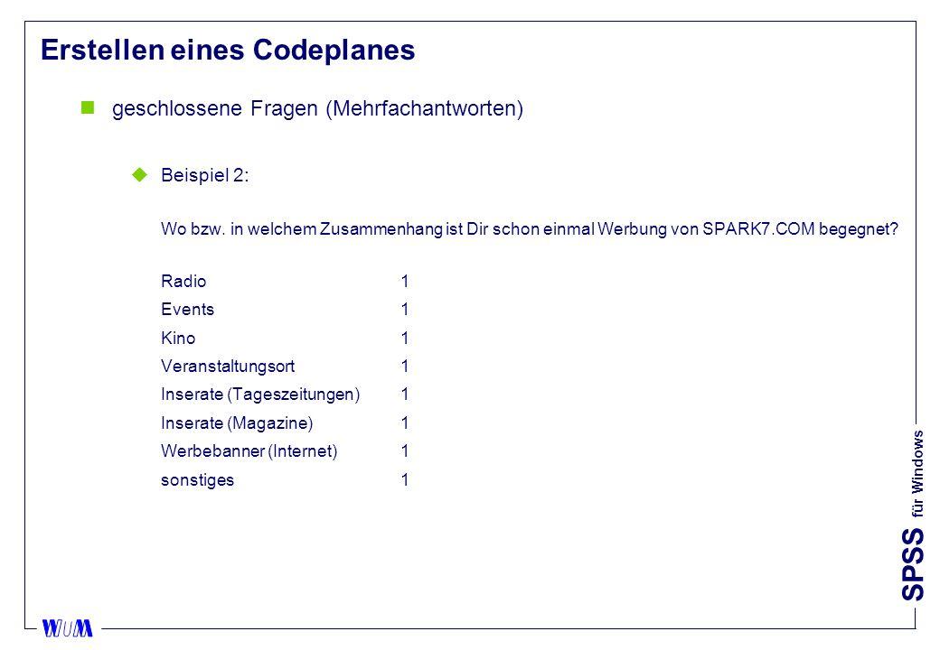 SPSS für Windows Erstellen eines Codeplanes ngeschlossene Fragen (Mehrfachantworten) uBeispiel 2: Wo bzw.