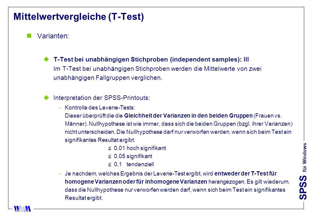 SPSS für Windows Mittelwertvergleiche (T-Test) nVarianten: uT-Test bei unabhängigen Stichproben (independent samples): III Im T-Test bei unabhängigen Stichproben werden die Mittelwerte von zwei unabhängigen Fallgruppen verglichen.