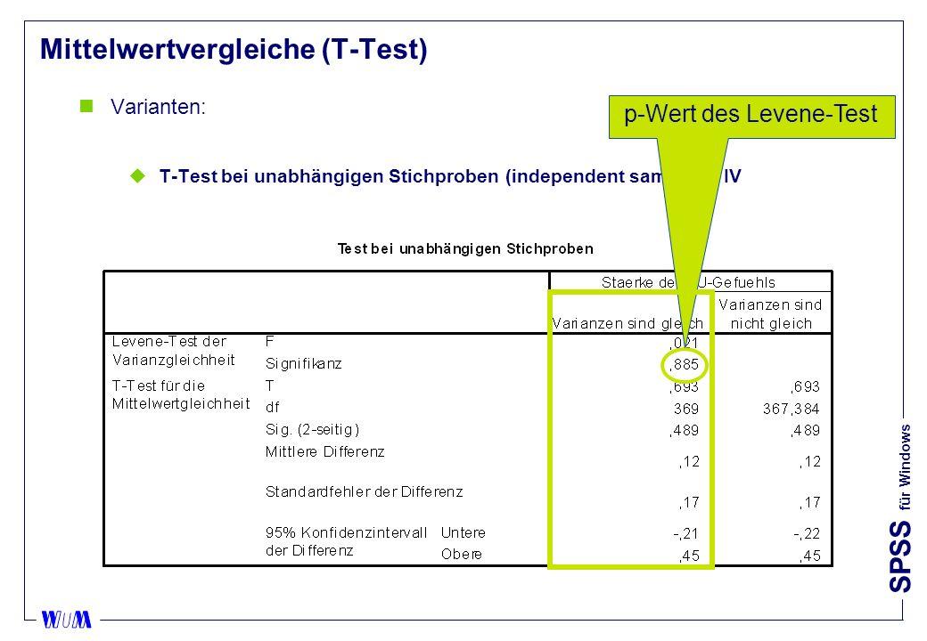 SPSS für Windows Mittelwertvergleiche (T-Test) nVarianten: uT-Test bei unabhängigen Stichproben (independent samples): IV p-Wert des Levene-Test