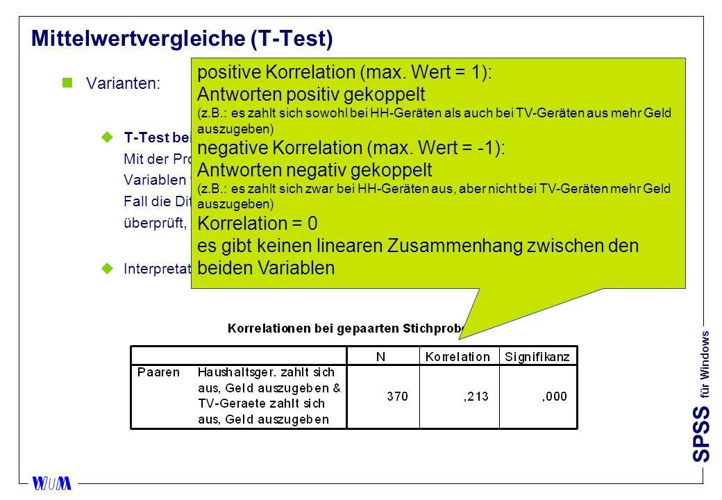 SPSS für Windows Mittelwertvergleiche (T-Test) nVarianten: uT-Test bei gepaarten Stichproben (paired samples): III Mit der Prozedur T-Test bei gepaarten Stichproben werden die Mittelwerte zweier Variablen für eine einzelne Gruppe verglichen.