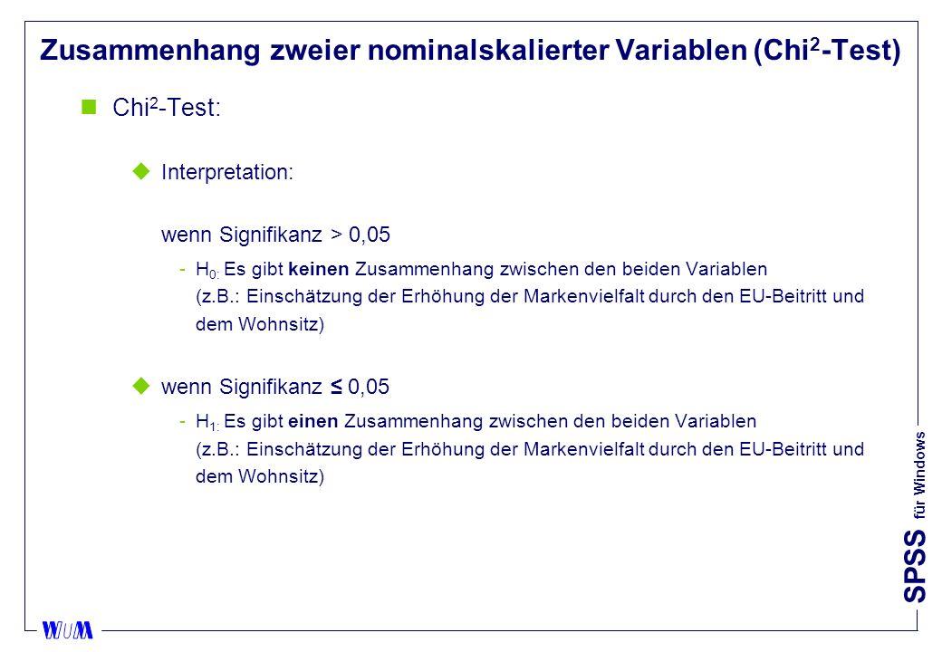 SPSS für Windows Zusammenhang zweier nominalskalierter Variablen (Chi 2 -Test) nChi 2 -Test: uInterpretation: wenn Signifikanz > 0,05 H 0: Es gibt keinen Zusammenhang zwischen den beiden Variablen (z.B.: Einschätzung der Erhöhung der Markenvielfalt durch den EU-Beitritt und dem Wohnsitz) uwenn Signifikanz 0,05 H 1: Es gibt einen Zusammenhang zwischen den beiden Variablen (z.B.: Einschätzung der Erhöhung der Markenvielfalt durch den EU-Beitritt und dem Wohnsitz)