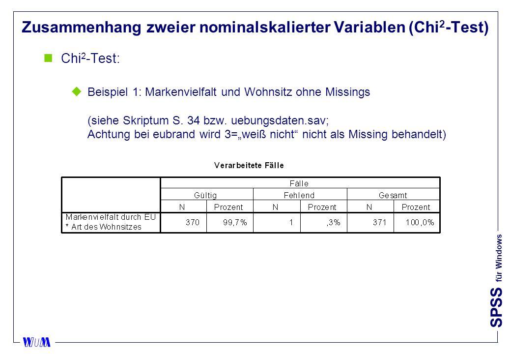 SPSS für Windows Zusammenhang zweier nominalskalierter Variablen (Chi 2 -Test) nChi 2 -Test: uBeispiel 1: Markenvielfalt und Wohnsitz ohne Missings (siehe Skriptum S.
