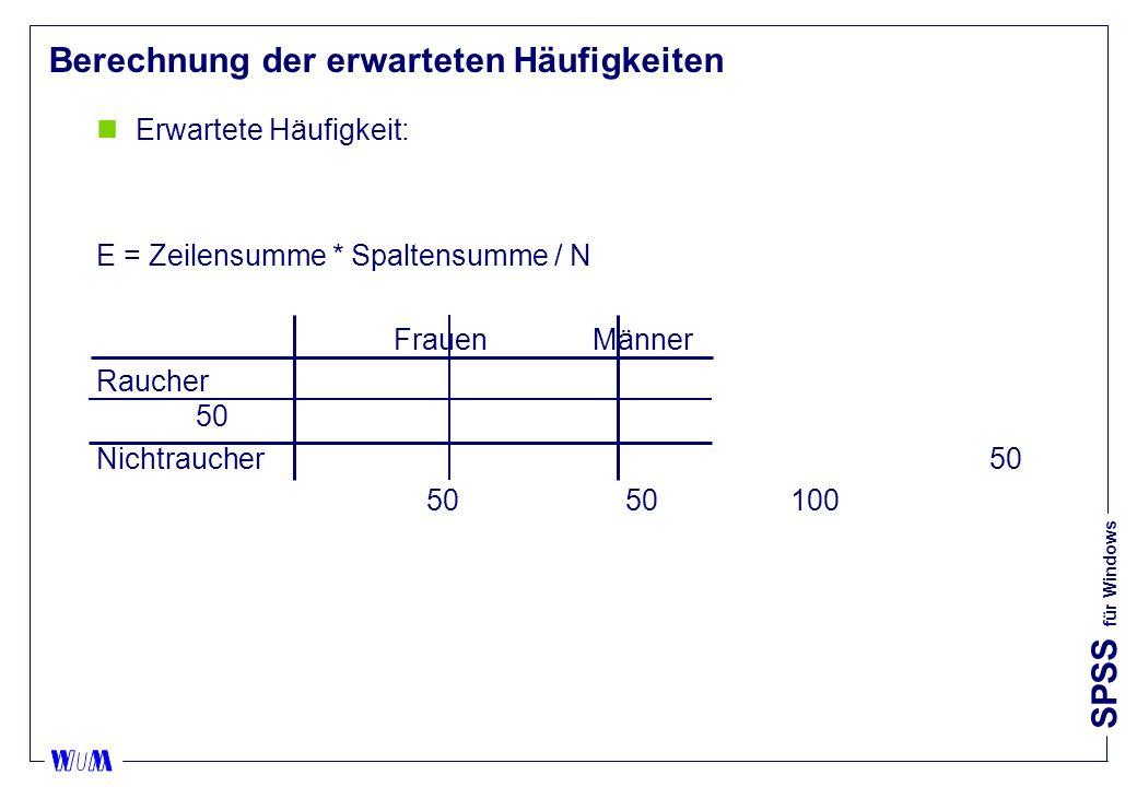 SPSS für Windows Berechnung der erwarteten Häufigkeiten nErwartete Häufigkeit: E = Zeilensumme * Spaltensumme / N FrauenMänner Raucher 50 Nichtraucher50 50 50100