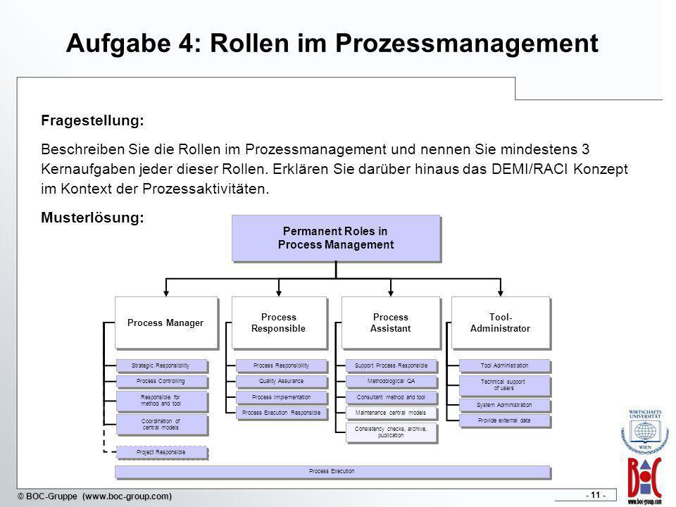 - 11 - © BOC-Gruppe (www.boc-group.com) Aufgabe 4: Rollen im Prozessmanagement Fragestellung: Beschreiben Sie die Rollen im Prozessmanagement und nenn