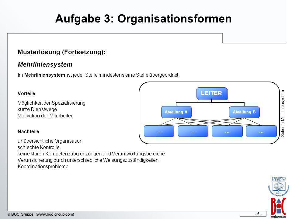 - 6 - © BOC-Gruppe (www.boc-group.com) Aufgabe 3: Organisationsformen Musterlösung (Fortsetzung): Mehrliniensystem Im Mehrliniensystem ist jeder Stell