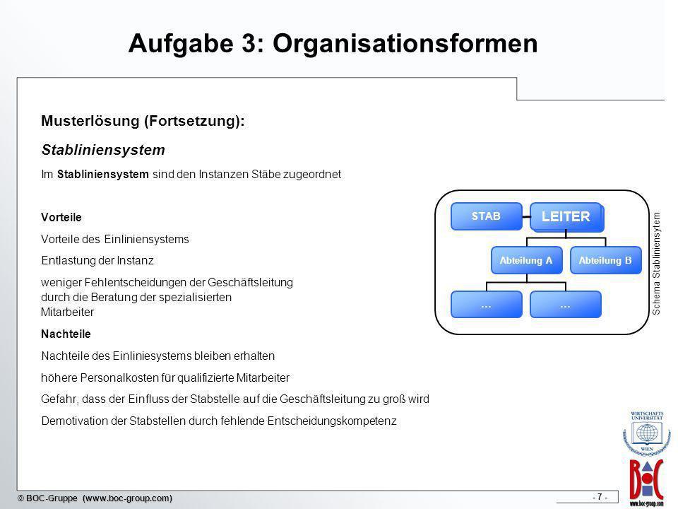 - 7 - © BOC-Gruppe (www.boc-group.com) Aufgabe 3: Organisationsformen Musterlösung (Fortsetzung): Stabliniensystem Im Stabliniensystem sind den Instan