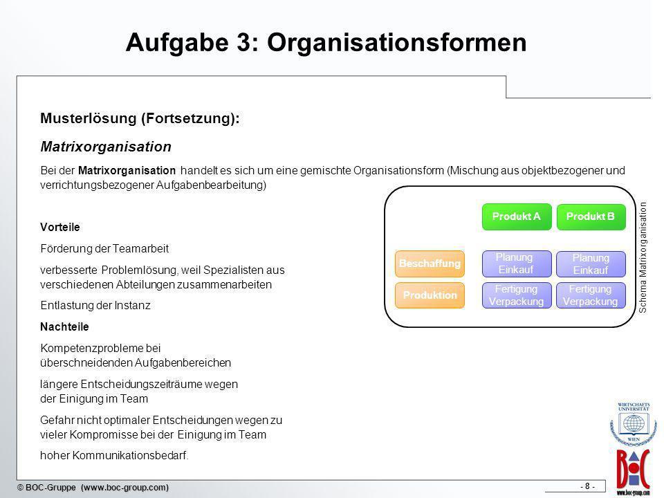 - 8 - © BOC-Gruppe (www.boc-group.com) Aufgabe 3: Organisationsformen Musterlösung (Fortsetzung): Matrixorganisation Bei der Matrixorganisation handel