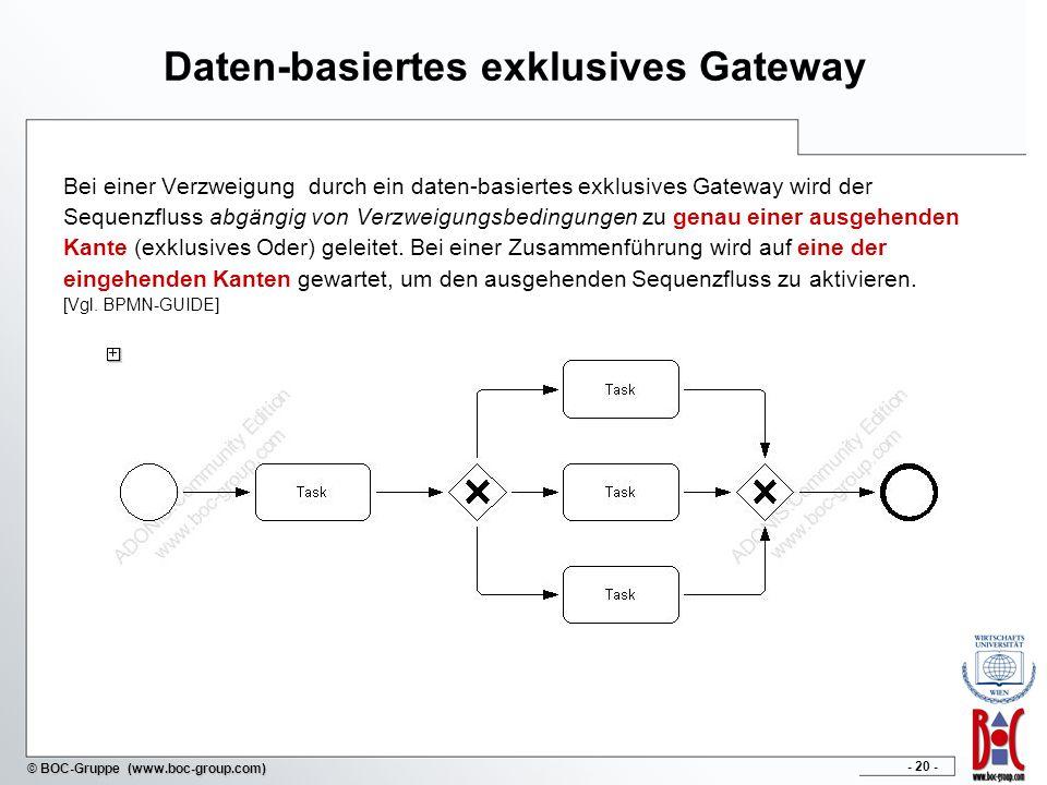 - 20 - © BOC-Gruppe (www.boc-group.com) Daten-basiertes exklusives Gateway Bei einer Verzweigung durch ein daten-basiertes exklusives Gateway wird der Sequenzfluss abgängig von Verzweigungsbedingungen zu genau einer ausgehenden Kante (exklusives Oder) geleitet.