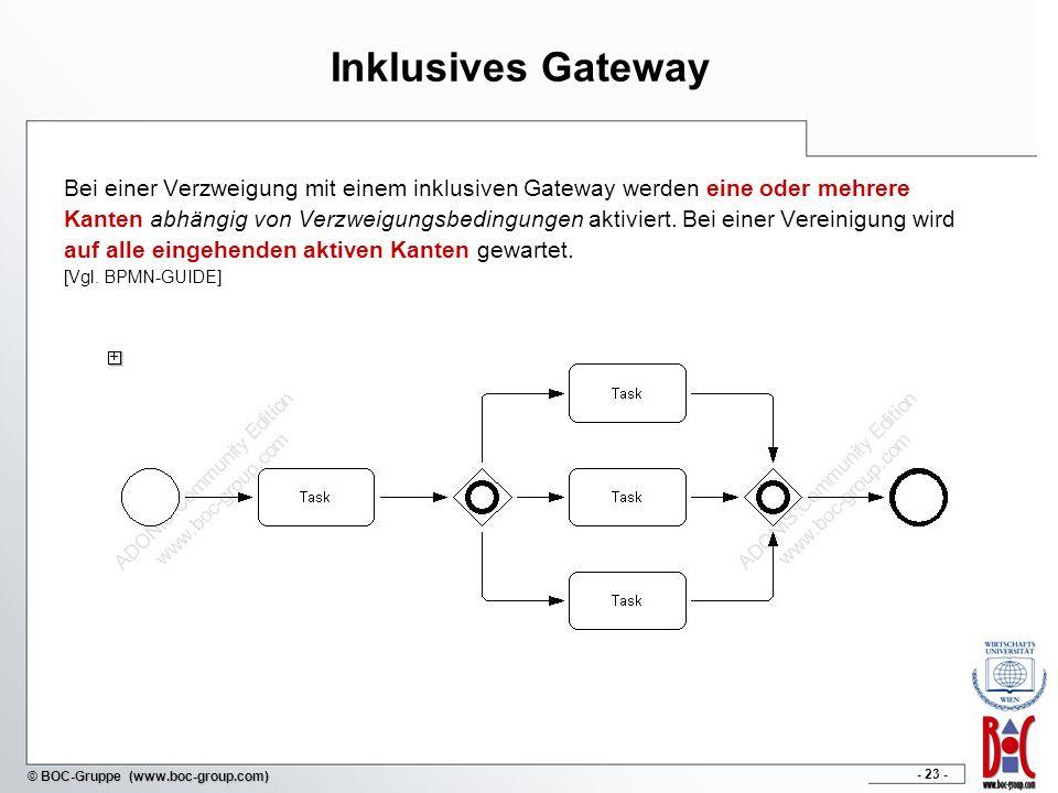- 23 - © BOC-Gruppe (www.boc-group.com) Inklusives Gateway Bei einer Verzweigung mit einem inklusiven Gateway werden eine oder mehrere Kanten abhängig von Verzweigungsbedingungen aktiviert.
