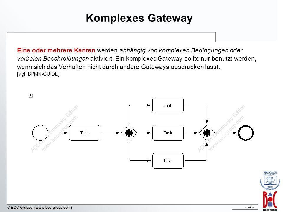 - 24 - © BOC-Gruppe (www.boc-group.com) Komplexes Gateway Eine oder mehrere Kanten werden abhängig von komplexen Bedingungen oder verbalen Beschreibungen aktiviert.