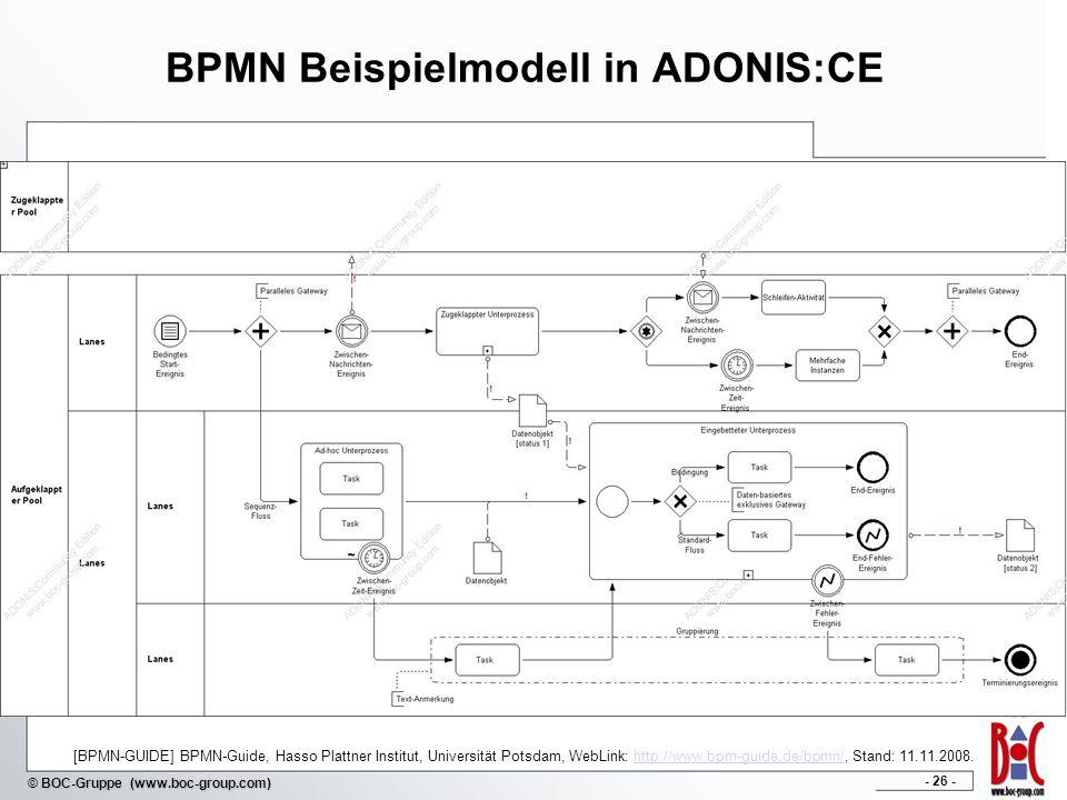 - 26 - © BOC-Gruppe (www.boc-group.com) BPMN Beispielmodell in ADONIS:CE [BPMN-GUIDE] BPMN-Guide, Hasso Plattner Institut, Universität Potsdam, WebLink: http://www.bpm-guide.de/bpmn/, Stand: 11.11.2008.http://www.bpm-guide.de/bpmn/