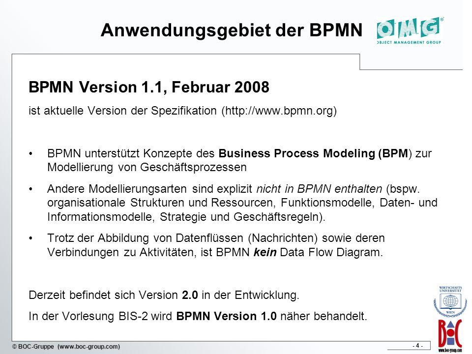 - 4 - © BOC-Gruppe (www.boc-group.com) Anwendungsgebiet der BPMN BPMN Version 1.1, Februar 2008 ist aktuelle Version der Spezifikation (http://www.bpm