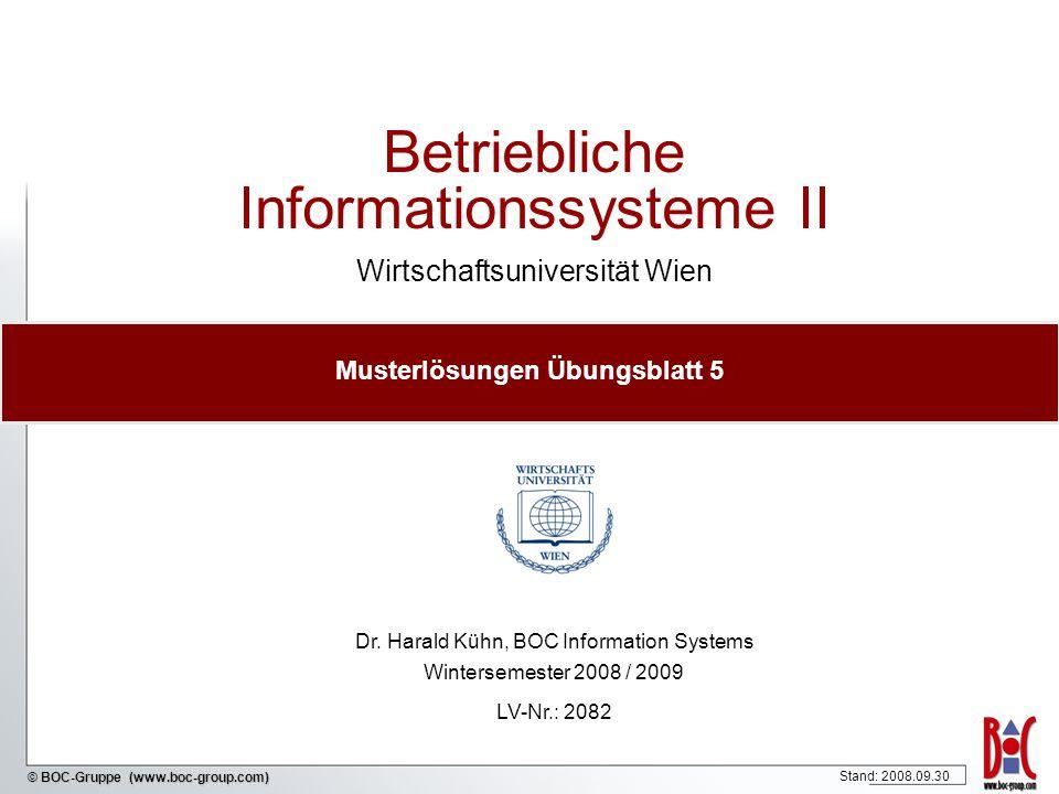© BOC-Gruppe (www.boc-group.com) Betriebliche Informationssysteme II Wirtschaftsuniversität Wien Dr. Harald Kühn, BOC Information Systems Wintersemest