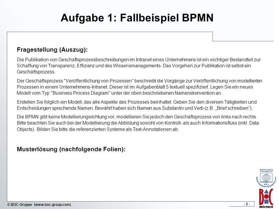- 2 - © BOC-Gruppe (www.boc-group.com) Aufgabe 1: Fallbeispiel BPMN Fragestellung (Auszug): Die Publikation von Geschäftsprozessbeschreibungen im Intr