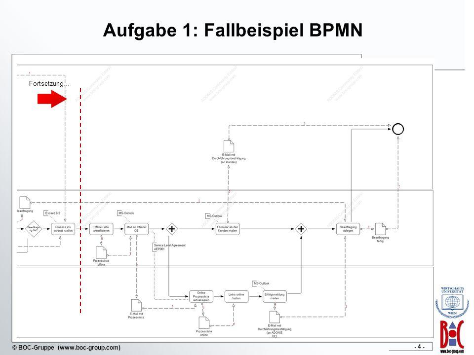 - 4 - © BOC-Gruppe (www.boc-group.com) Aufgabe 1: Fallbeispiel BPMN Fortsetzung…