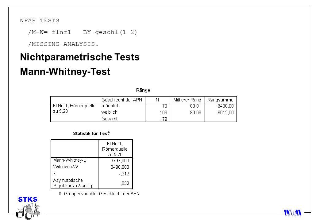 NPAR TESTS /M-W= flnr1 BY geschl(1 2) /MISSING ANALYSIS. Nichtparametrische Tests Mann-Whitney-Test