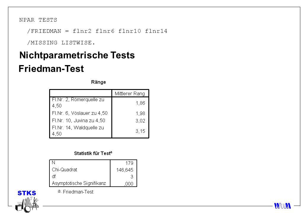 STKS NPAR TESTS /FRIEDMAN = flnr2 flnr6 flnr10 flnr14 /MISSING LISTWISE. Nichtparametrische Tests Friedman-Test