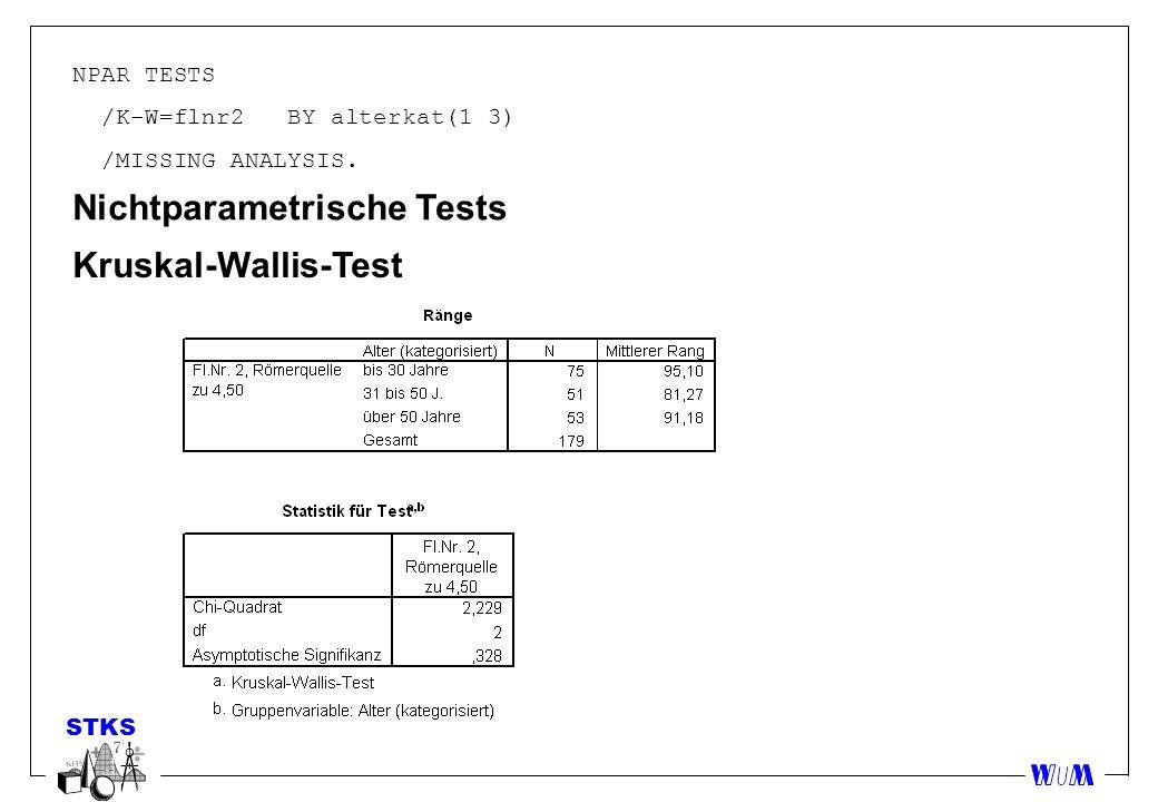 NPAR TESTS /K-W=flnr2 BY alterkat(1 3) /MISSING ANALYSIS. Nichtparametrische Tests Kruskal-Wallis-Test