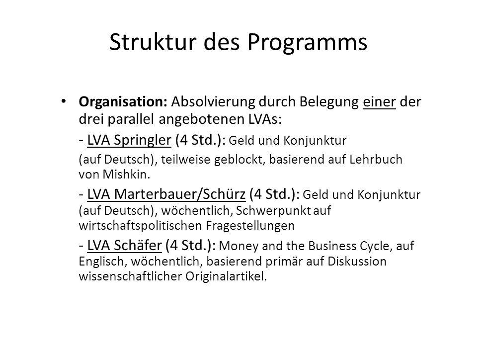 Struktur des Programms Organisation: Absolvierung durch Belegung einer der drei parallel angebotenen LVAs: - LVA Springler (4 Std.): Geld und Konjunkt