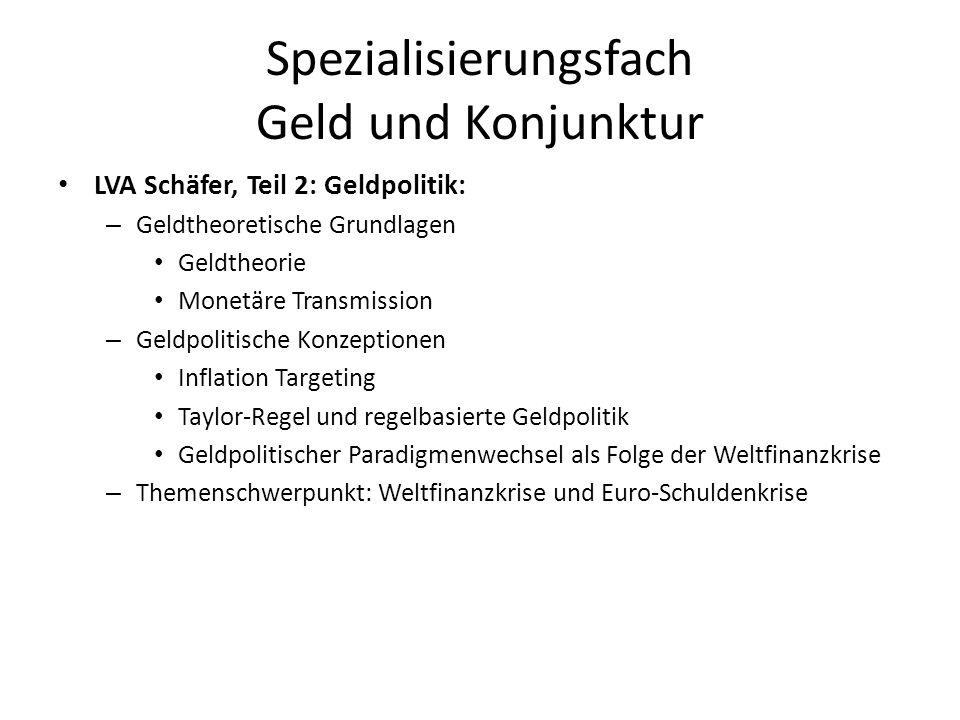 Spezialisierungsfach Geld und Konjunktur LVA Schäfer, Teil 2: Geldpolitik: – Geldtheoretische Grundlagen Geldtheorie Monetäre Transmission – Geldpolit