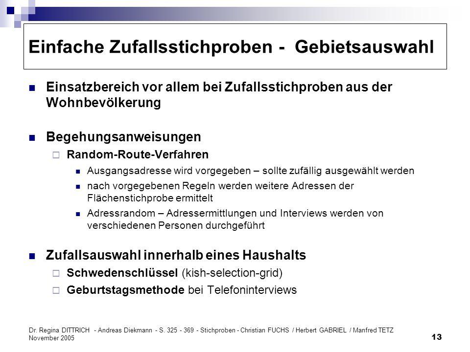 Dr. Regina DITTRICH - Andreas Diekmann - S. 325 - 369 - Stichproben - Christian FUCHS / Herbert GABRIEL / Manfred TETZ November 2005 13 Einfache Zufal