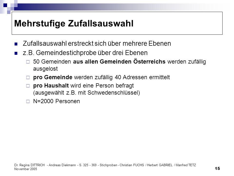 Dr. Regina DITTRICH - Andreas Diekmann - S. 325 - 369 - Stichproben - Christian FUCHS / Herbert GABRIEL / Manfred TETZ November 2005 15 Mehrstufige Zu