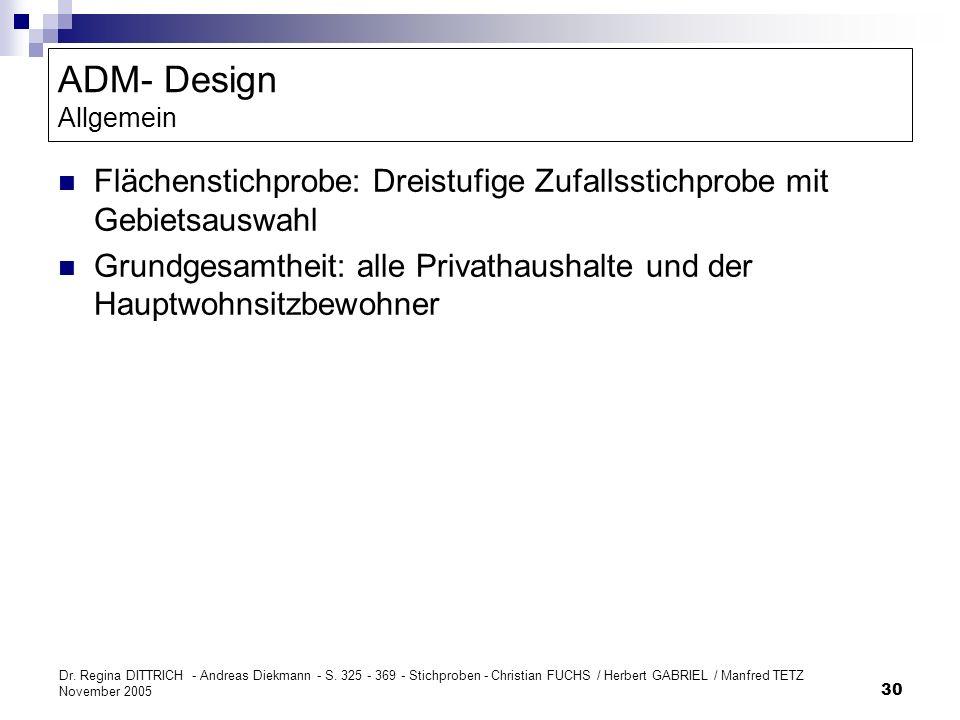 Dr. Regina DITTRICH - Andreas Diekmann - S. 325 - 369 - Stichproben - Christian FUCHS / Herbert GABRIEL / Manfred TETZ November 2005 30 ADM- Design Al