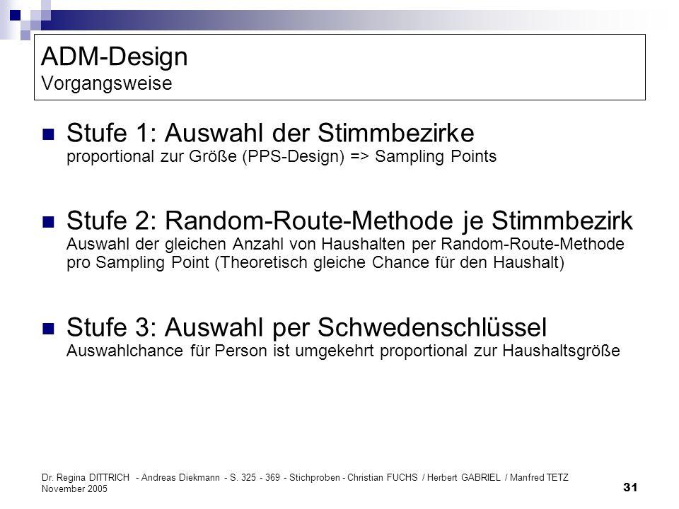 Dr. Regina DITTRICH - Andreas Diekmann - S. 325 - 369 - Stichproben - Christian FUCHS / Herbert GABRIEL / Manfred TETZ November 2005 31 ADM-Design Vor