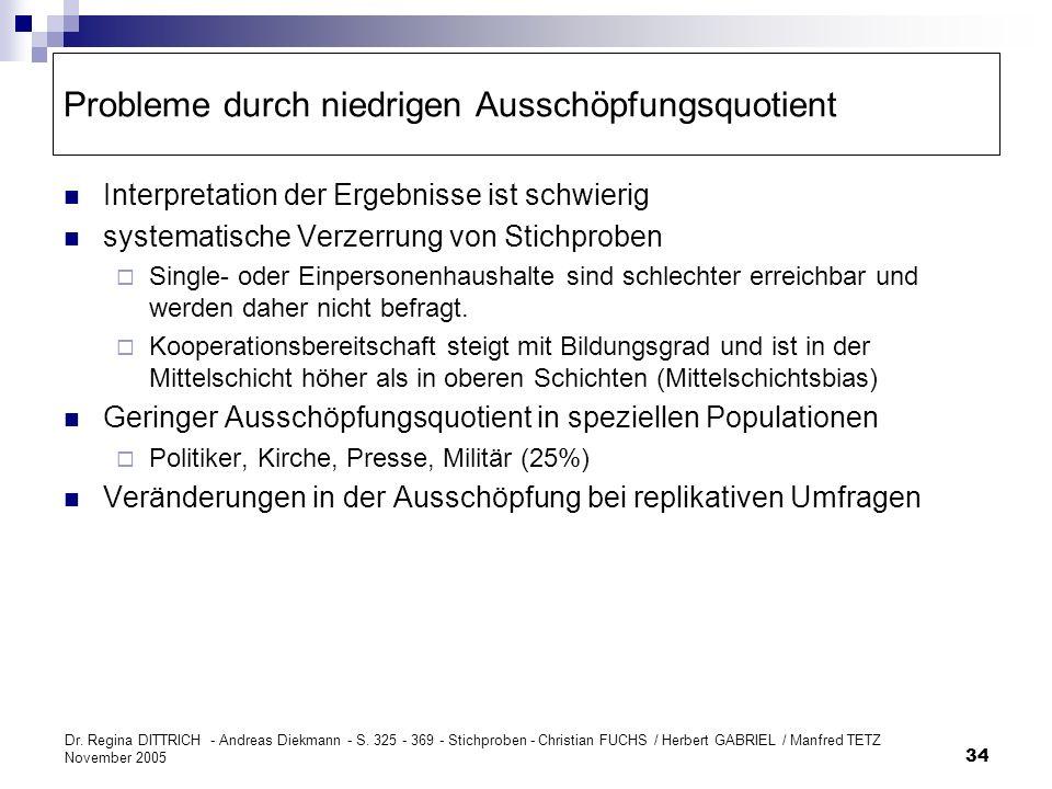 Dr. Regina DITTRICH - Andreas Diekmann - S. 325 - 369 - Stichproben - Christian FUCHS / Herbert GABRIEL / Manfred TETZ November 2005 34 Probleme durch