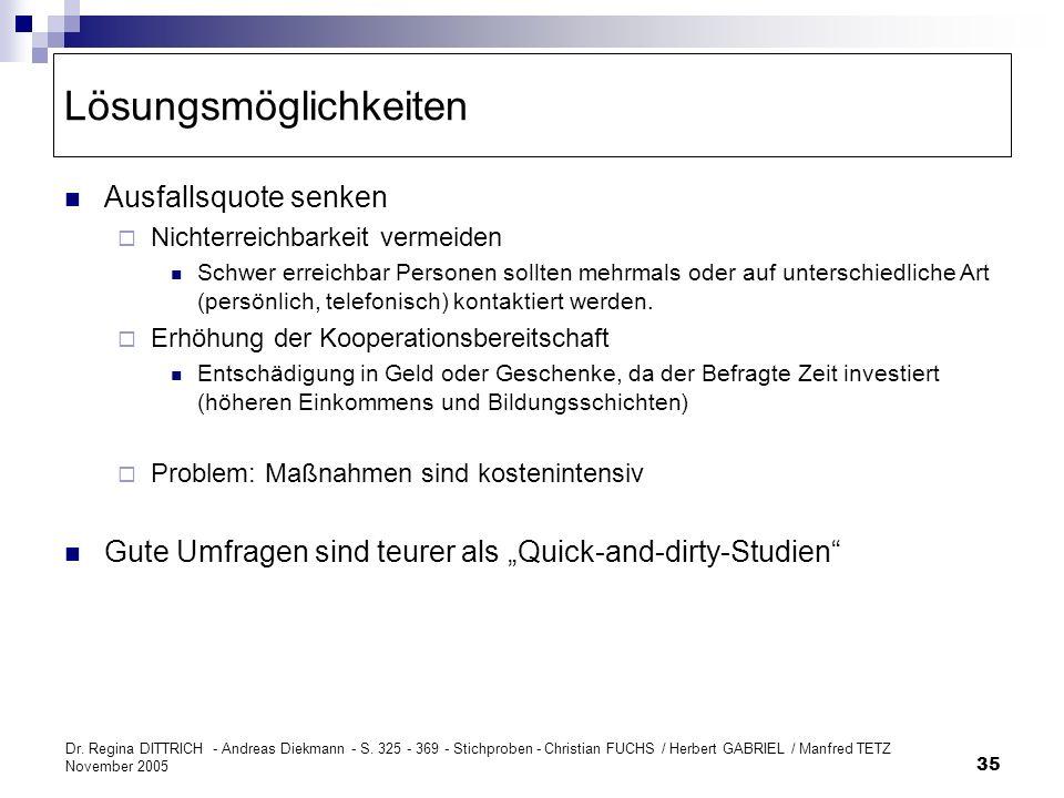 Dr. Regina DITTRICH - Andreas Diekmann - S. 325 - 369 - Stichproben - Christian FUCHS / Herbert GABRIEL / Manfred TETZ November 2005 35 Lösungsmöglich