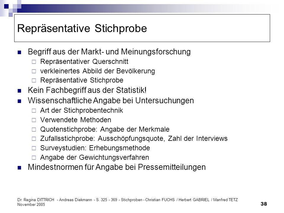 Dr. Regina DITTRICH - Andreas Diekmann - S. 325 - 369 - Stichproben - Christian FUCHS / Herbert GABRIEL / Manfred TETZ November 2005 38 Repräsentative