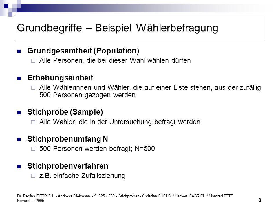 Dr. Regina DITTRICH - Andreas Diekmann - S. 325 - 369 - Stichproben - Christian FUCHS / Herbert GABRIEL / Manfred TETZ November 2005 8 Grundbegriffe –