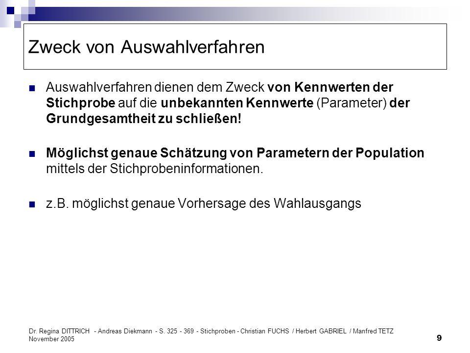 Dr. Regina DITTRICH - Andreas Diekmann - S. 325 - 369 - Stichproben - Christian FUCHS / Herbert GABRIEL / Manfred TETZ November 2005 9 Zweck von Auswa