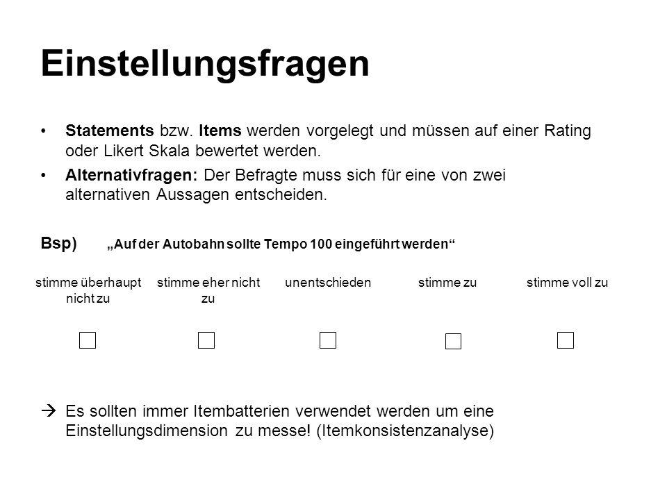 Überzeugungsfragen Überzeugungen sind subjetive Aussagen über Fakten Mögliche Fragen formal offene Fragen verwendet (Beispiel) Multiple-Choice-Fragen Dichotome (Ja-Nein) Fragen Alternativfragen Bsp) Was glauben Sie, wieviele Kohlekraftwerke sind in Österreich in Betrieb.