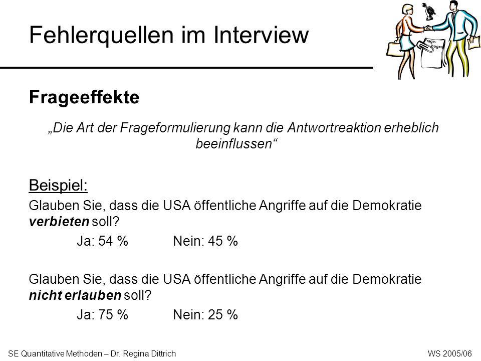 Fehlerquellen im Interview Frageeffekte - Rating-Verfahren: Die Bedeutung wird jeweils separat auf einer Skala mit den Polen sehr wichtig bis überhaupt nicht wichtig (Ratingskala) eingestuft.