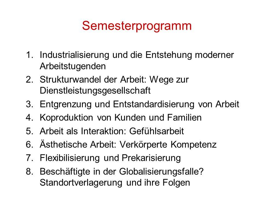 Semesterprogramm 1.Industrialisierung und die Entstehung moderner Arbeitstugenden 2.Strukturwandel der Arbeit: Wege zur Dienstleistungsgesellschaft 3.