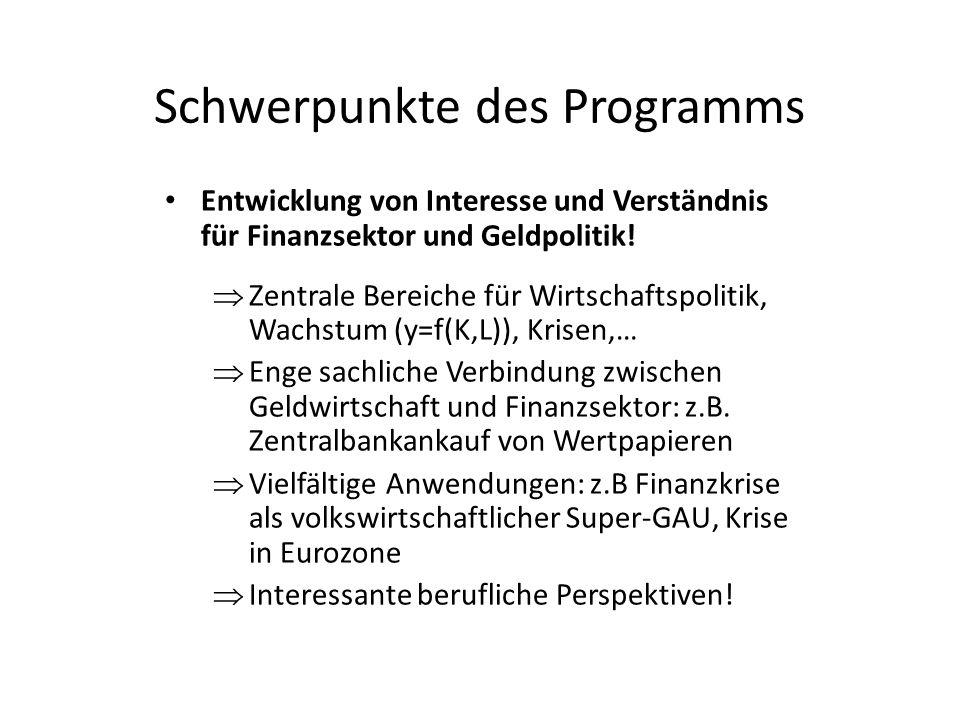 Schwerpunkte des Programms Entwicklung von Interesse und Verständnis für Finanzsektor und Geldpolitik.