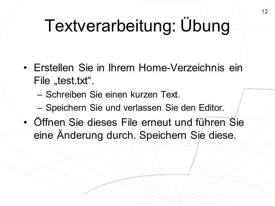12 Textverarbeitung: Übung Erstellen Sie in Ihrem Home-Verzeichnis ein File test.txt. –Schreiben Sie einen kurzen Text. –Speichern Sie und verlassen S