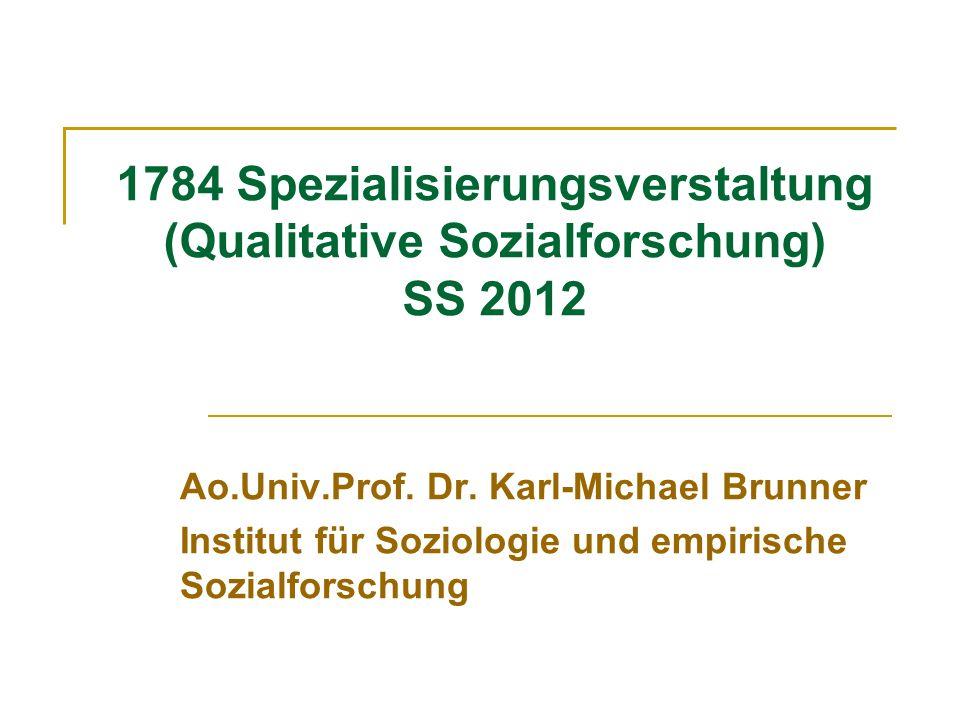 1784 Spezialisierungsverstaltung (Qualitative Sozialforschung) SS 2012 Ao.Univ.Prof. Dr. Karl-Michael Brunner Institut für Soziologie und empirische S