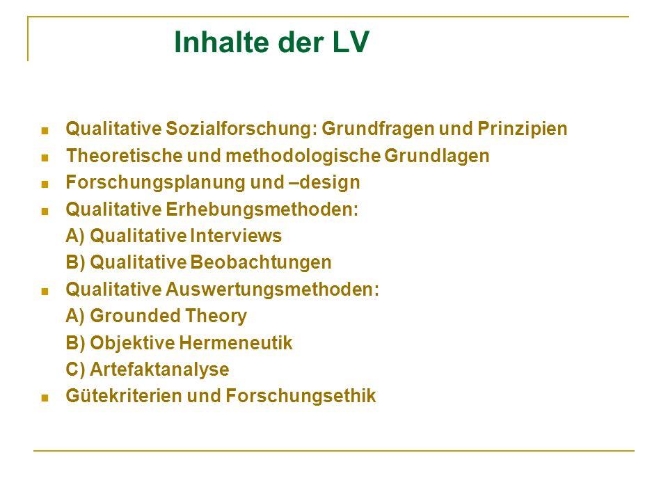 Inhalte der LV Qualitative Sozialforschung: Grundfragen und Prinzipien Theoretische und methodologische Grundlagen Forschungsplanung und –design Quali